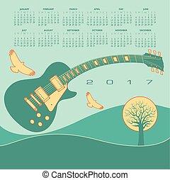 guitarra, miedoso, calendario