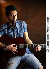 guitarra, modelo, macho, cantando, tocando