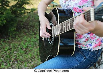 guitarra, mujer, al aire libre, cuerda, mano