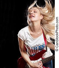 guitarra, mujer, juego