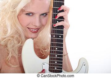 guitarra, mulher, dela