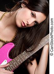 guitarra, mulher