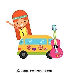 guitarra, mulher, furgão, hippie, caricatura