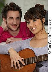 guitarra, namorada, tocando, dela, namorado