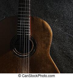 guitarra, naturaleza muerta