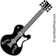 guitarra, negro