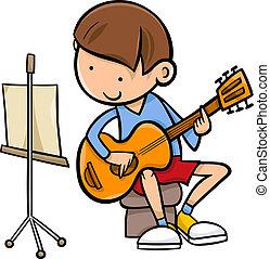 guitarra, niño, caricatura, ilustración