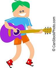 guitarra, niño