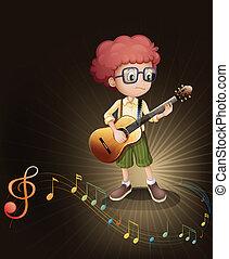 guitarra, niño, talentoso