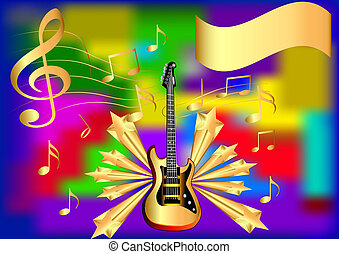 guitarra, nota, estrella, plano de fondo
