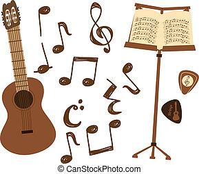 guitarra, nota, música