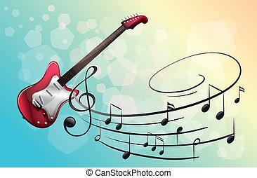guitarra, notas, eléctrico, rojo, musical