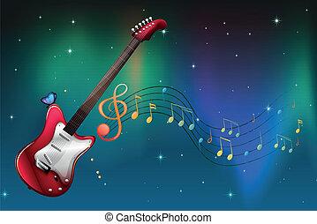 guitarra, notas, musical, rojo