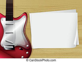 guitarra, papel, vacío, rojo, pedazo
