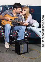 guitarra, par, romanticos, elétrico