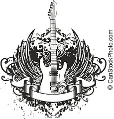 guitarra, patrones, alas