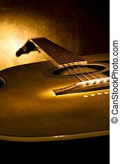 guitarra, perfecto, música, fondo.