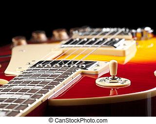 guitarra, pretas, elétrico, fundo
