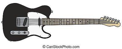 guitarra, pretas, elétrico