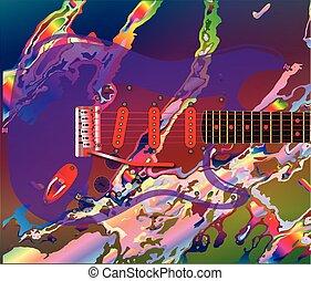 guitarra, psicodélico, plano de fondo