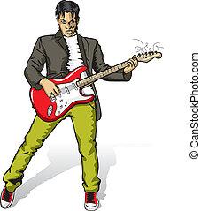 guitarra, punk, homem