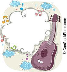 guitarra, quadro, fundo