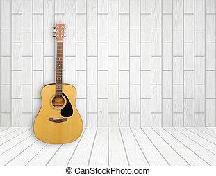 guitarra, quarto vazio, fundo