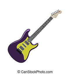 guitarra, realista, eléctrico, ilustración