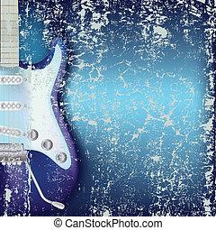 guitarra, resumen, agrietado, plano de fondo, eléctrico