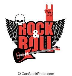 guitarra, rolo, logo., elétrico, rocha