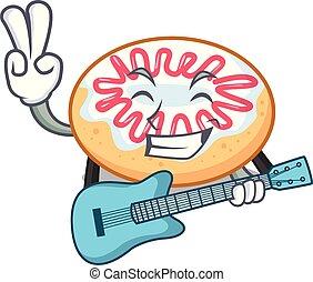 guitarra, rosquilla, mascota, jalea, caricatura
