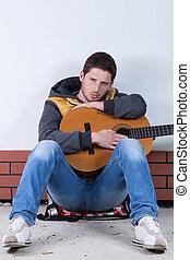 guitarra, rua, homem