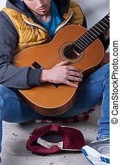 guitarra, rua, tocando