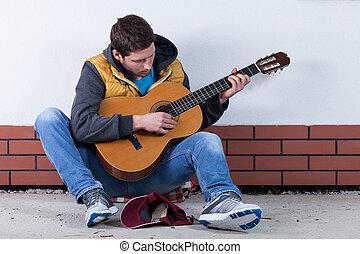 guitarra, rua, tocando, homem