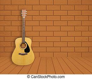 guitarra, sala, fundo