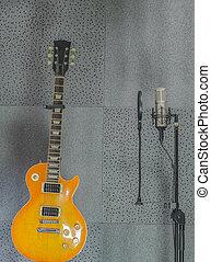 guitarra, sala, mic, gravando, condensador, elétrico