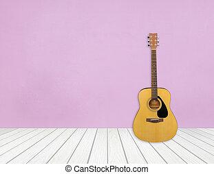 guitarra, sala, vazio, em branco