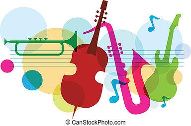 guitarra, saxófono, música, plantilla, notas