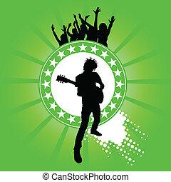 guitarra, seu, homem