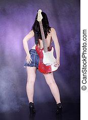 guitarra, sexy, espalda mujer