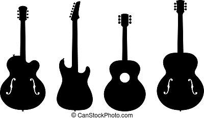 guitarra, silhuetas