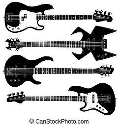 guitarra, silhuetas, vetorial, baixo