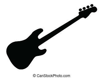 guitarra, silueta, bajo