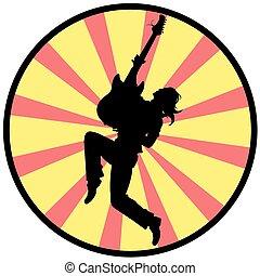 guitarra, silueta, homem