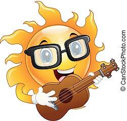 guitarra, sol, personagem, tocando, caricatura