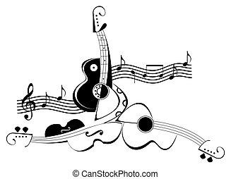 guitarra, tatuagem, -, violino