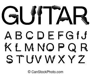 guitarra, tipografía