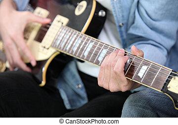 guitarra, tiro, tocando, recortado, homem