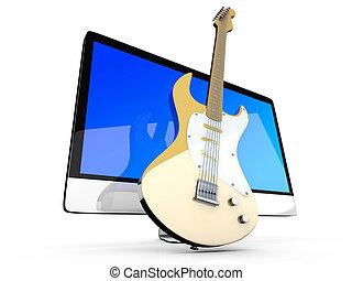guitarra, todos, computadora, uno