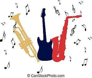 guitarra, trompete, notas, saxofone, musical